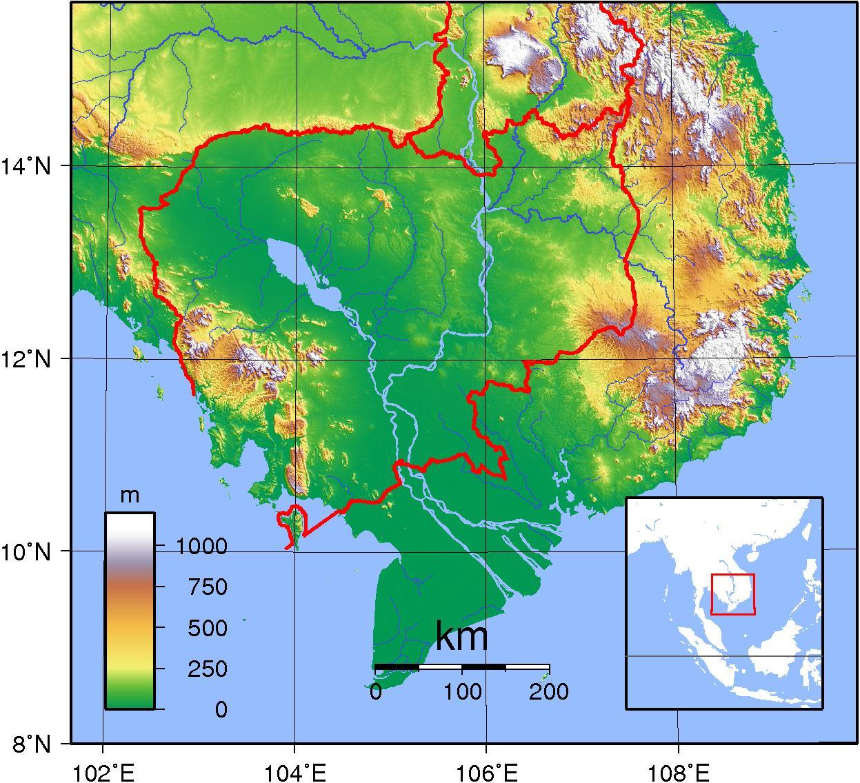 Cambodja Topografisk Kort Kort Over Cambodja Topografisk Syd